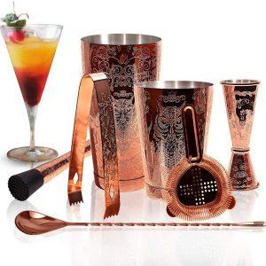 Kit de coctelera de cobre grabado